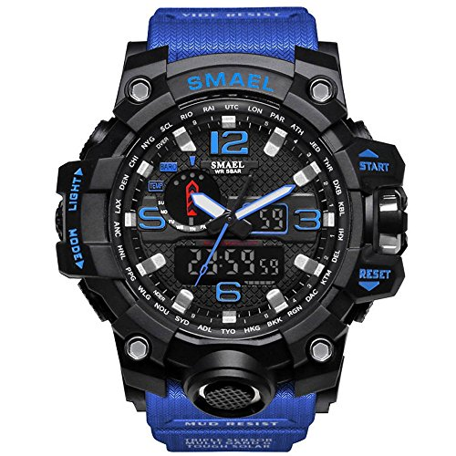 Mens Military Sport Digital Waterproof Outdoor Watch Dual Electronic Quartz Movement Green Band With Back Light  Blue