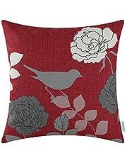 CaliTime Canvas Sierkussen Cover Case voor Bank Sofa Woondecoratie Bloemen Cartoon Shadow Bird Silhouette 45cm x 45cm Bourgondisch Ground Grey Bird