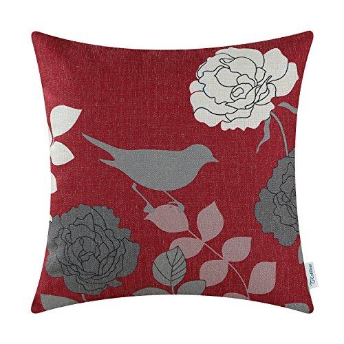 CaliTime Cushion Cover Throw Pillow Shell Floral Shadow Bird 18 X 18 Inches Burgundy Ground Grey Bird (Green And Burgundy Throw Pillows)