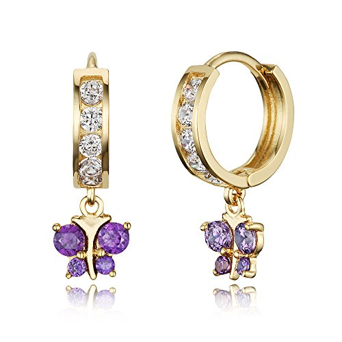 14k Gold Plated Brass Purple Butterfly Channel Cz Huggy Baby Girls Hoop - 14k Ring Butterfly