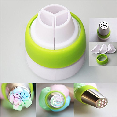 CHRISLZ 3-Color Icing Piping Bag Russian Nozzle Converter Coupler Cake Decorating Tool