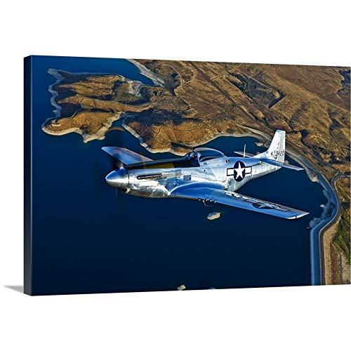 GREATBIGCANVAS Gallery-Wrapped Canvas Entitled A North American P-51D Mustang Flying Near Chino, California by Scott Germain 48
