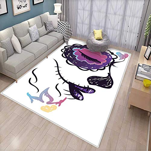 Day of The Dead Bath Mats Carpet Sugar Skull Girl Face with Make Up Hand Drawn Mexican Artwork Door Mats for Inside Non Slip Backing Pale Orange Plum Seafoam