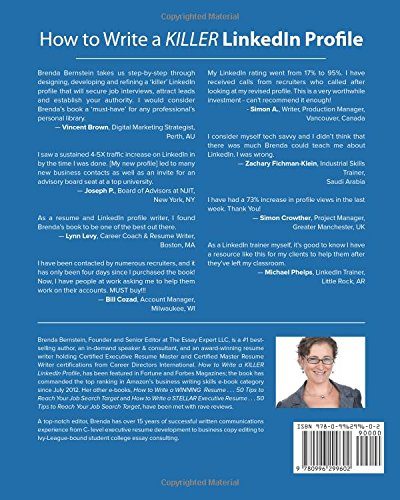 how to write a killer linkedin profile and 18 mistakes to avoid brenda bernstein 9780996299602 amazoncom books