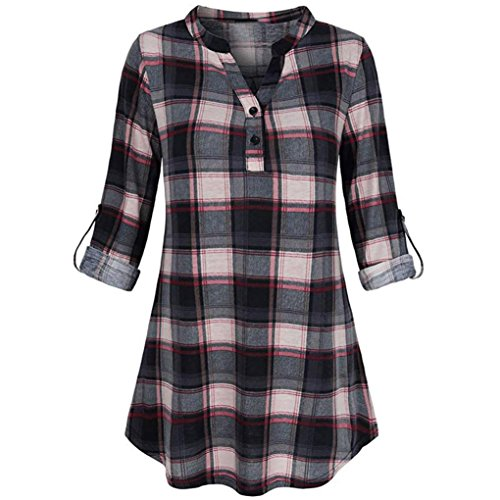 Forthery Women Blouse 3/4 Sleeve Plaid Tunic Tops V Neck Split Blouse Clearance Sale(Black, XX-Large)
