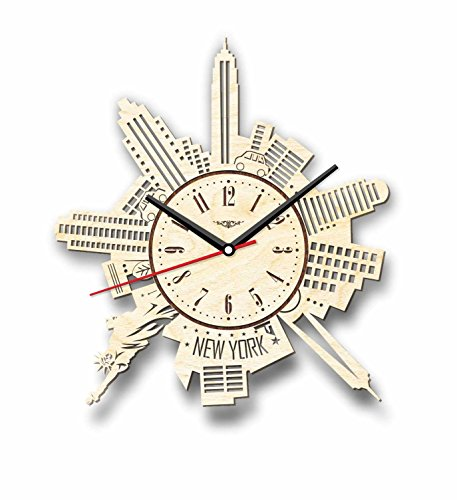 Cheap 7ArtsStudio New York Wall Clock Made of Wood – Perfect and Beautifully Cut – Decorate Your Home with Modern Art – Unique Gift for Him and Her – Size 12 Inches