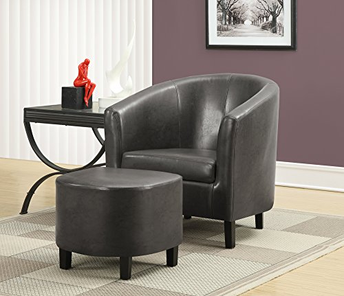 Monarch Specialties Charcoal Grey Leather-Look Accent Chair and Ottoman, 30-Inch (Black Accent Ottoman)