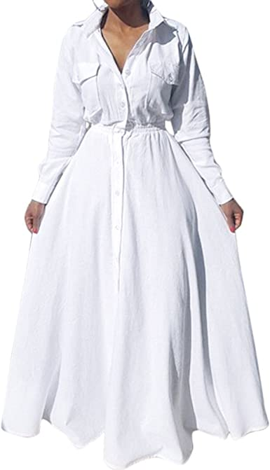 Yomobuti Women's Button Down White Shirt Dress Pleated Long Sleeve ...