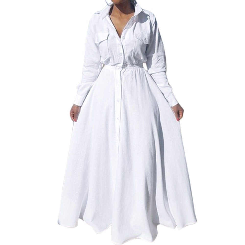Bodycon4U Women's Pleated Long Sleeve Party Cocktail Long Maxi Button Down White Shirt Dress L