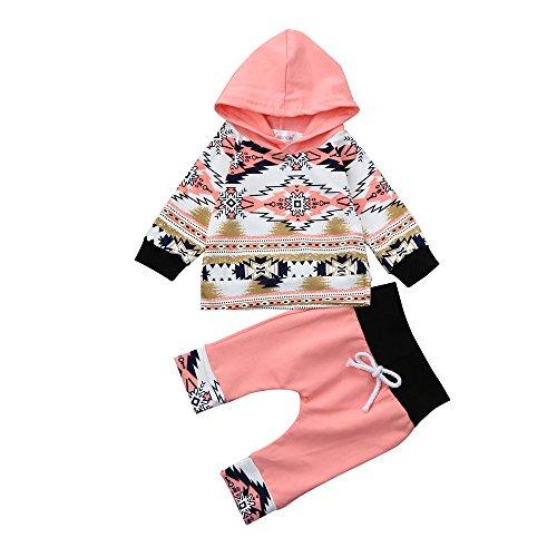 Birdfly Toddler Baby Girls Clothes Set Indian Native Print Hoodies Sweatshirt + Joggers (3M, Ethnic)