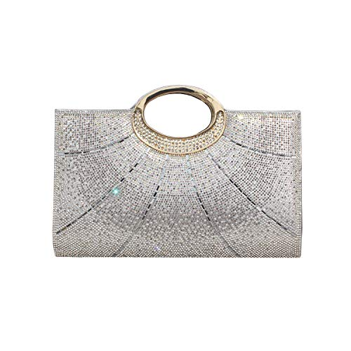 Gesu Women Clutches Rhinestone Clutch Evening Bag Glitter Clutch Purse Wedding Bridal Prom Handbag Silver