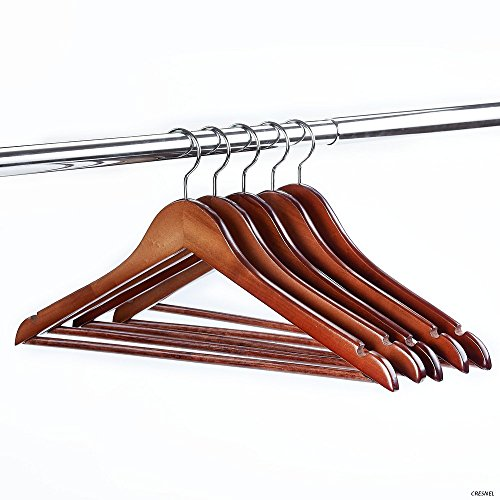 24-Pack Premium Wood Clothes Hangers - Solid Walnut Finish - Rotating Chrome Hook - Value Pack of 24pcs