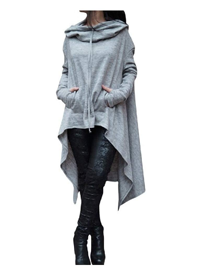 DressU Womens Solid High Low Hem Overcoat Jackets Hood Long Sweatshirts