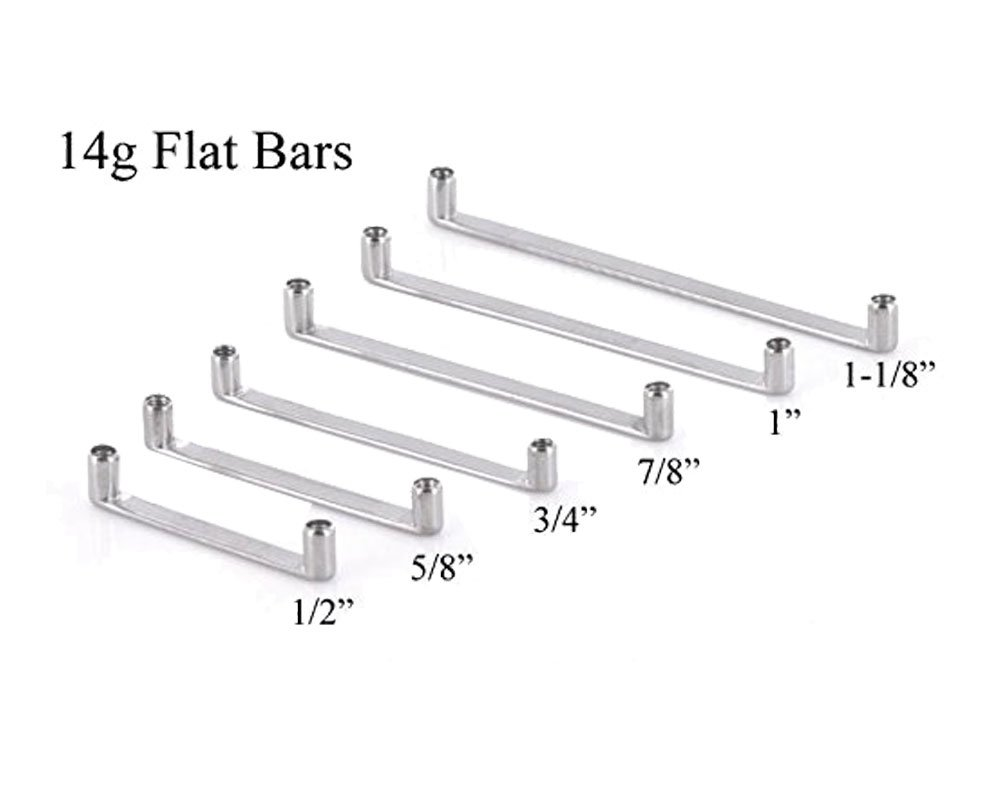 Painful Pleasures 14g Internally Threaded Flat Titanium Surface Barbell with 2mm Rise - 25mm ~ 1''