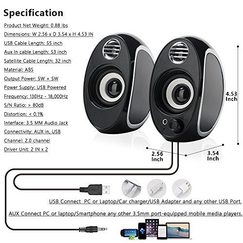 TuparGo DX18 USB Powered Computer Speakers with Headphone Jack,10W Peak Power Apply To Any 3.5mm Port-Equipped Media Players(Black) by TuparGo (Image #4)