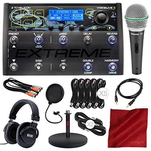 (TC-Helicon VoiceLive 3 Extreme Guitar/Vocal Effects Processor and Looper with FX Automation and Micrphone & Headphones Platinum Accessory Bundle)