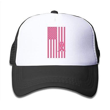 Amazon.com  Breast Cancer Awareness American Flag On Kids Trucker ... 3c6e3e0812a
