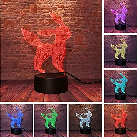Luz Nocturna Optical Illusion Lamp Umbreon Pokemon Go 3D ...