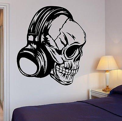 Wall Decal Headphones Music Skull Cool Decor Rock Pop For Bedroom VS2735