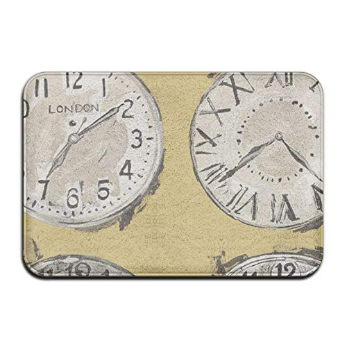 TOGEFRIEND Wall Clock Made to Measure Comfortable Slip-Resistant Memory Foam 23.6x15.7 inch Protection Small Door Mat Rectangular Doormat
