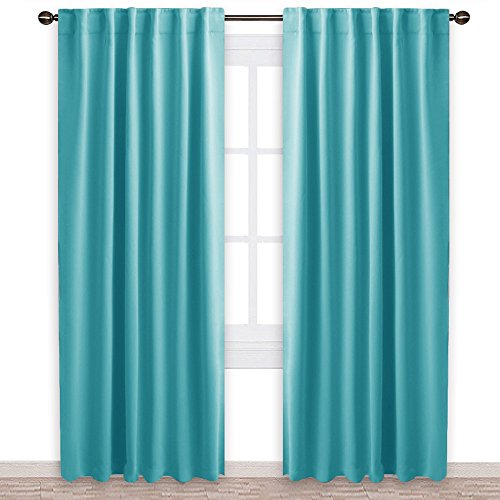 tment Solid Blackout Curtains - (Turquoise Blue Color) 52x84 Inch, 2 Panels, Blackout Drapery Panels for Kids Bedroom ()