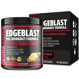 EDGEBLAST 5-Step Pre-Workout Matrix, NutraEdge 435G Pre-Workout Formula, Enhances Focus and Heightens Energy Levels, Promotes Strength Gains and Muscle Pumps, Fruit Punch Flavor.