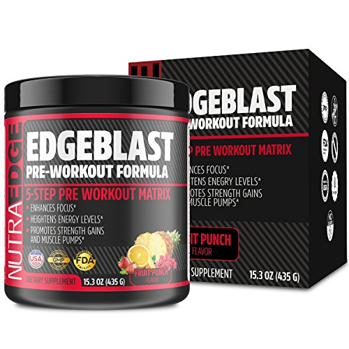 Muscle Pump Amplifier (EDGEBLAST 5-Step Pre-Workout Matrix, NutraEdge 435G Pre-Workout Formula, Enhances Focus and Heightens Energy Levels, Promotes Strength Gains and Muscle Pumps, Fruit Punch Flavor.)