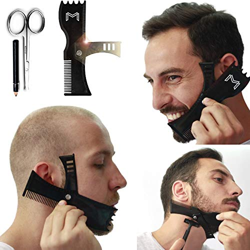Adjustable Beard Shaping Tool with Comb and Styling Template - Beard Lineup Tool & Edger for Men with Personality - Works with All Electric Trimmers, Razors or Clippers - B0NUS Round-Edge Scissors