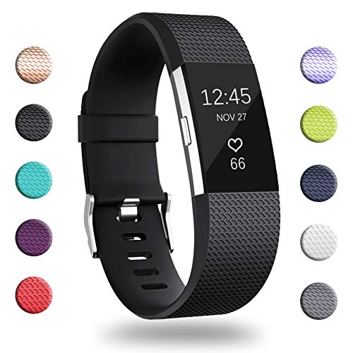 GEAK for Fitbit Charge 2 Bands, Adjustable Replacement Sport Accessory Strap Bands for Fitbit Charge 2, Small Classic-Black