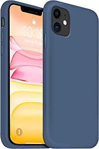 OUXUL iPhone 11 Case,iPhone 11 Liquid Silicone Gel Rubber Phone Case,Compatible with iPhone 11 Case Cover 6.1 Inch Full Body Slim Soft Microfiber Lining Protective Case (Denim Blue)