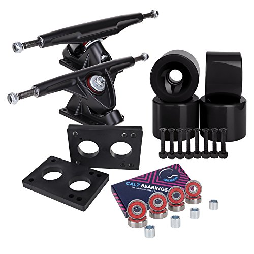 (Longboard 180mm Trucks + 70mm Wheels + Bearings Combo SET (Solid / Black / Black) )