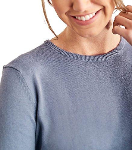 WoolOvers Pull à col rond - Femme - Cachemire & Coton Antique Blue, L