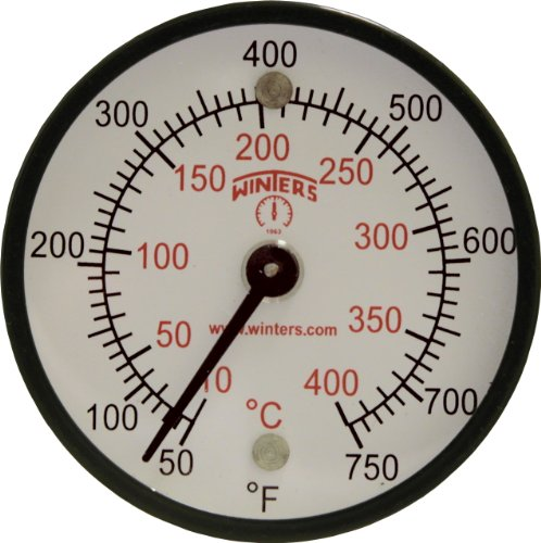 Winters TMT Series Steel Dual scale Surface Magnet Thermometer, 2'' Dial Display, +/-2% Accuracy, 50-750 F/C Range by Winters Instruments