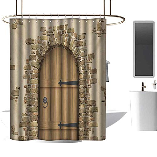 Rustic Shower Curtain Rustic,Wine Cellar Entrance Stone Arch Ancient Architecture European Building,Sand Brown Pale Brown,Waterproof Design Fabric Bathroom Curtain -