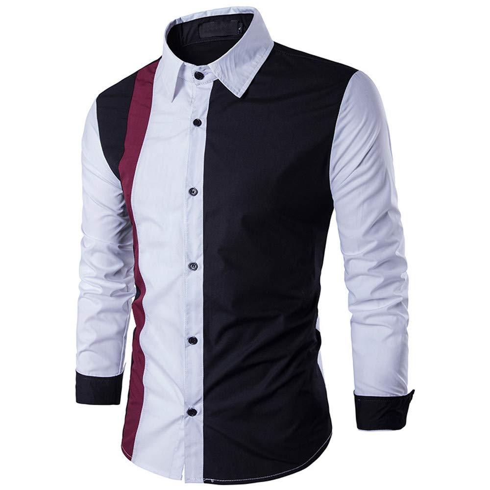 PASATO Men's Autumn Winter Long Sleeved Patchwork Fastener Sweatshirts Top Blouse New Hot!(Black, L)