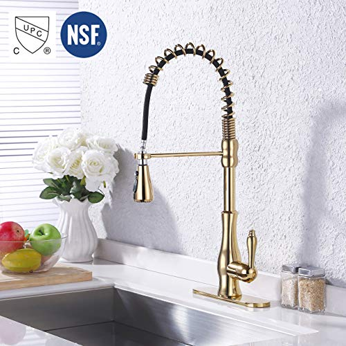 KES Titanium Gold Kitchen Commercial Sink Faucet with Pull Down Sprayer cUPC NSF Pull Out Faucet Single Lever High Arc BRASS, L6915BLF-PG
