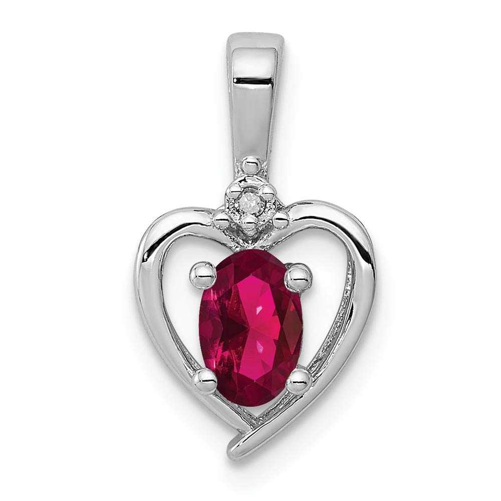 Pendant Diamond2Deal 925 Sterling Silver Rhodium-plated Created Ruby Diam
