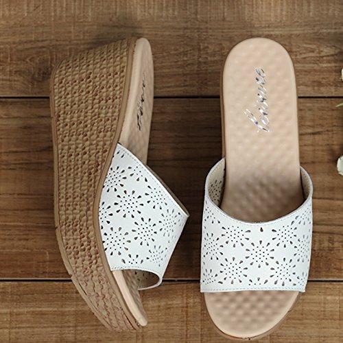 Cómodo El verano calza los deslizadores gruesos de la manera femenina del verano Los deslizadores frescos resbalan los deslizadores con los deslizadores (3 colores opcionales) (tamaño opcional) Aument A
