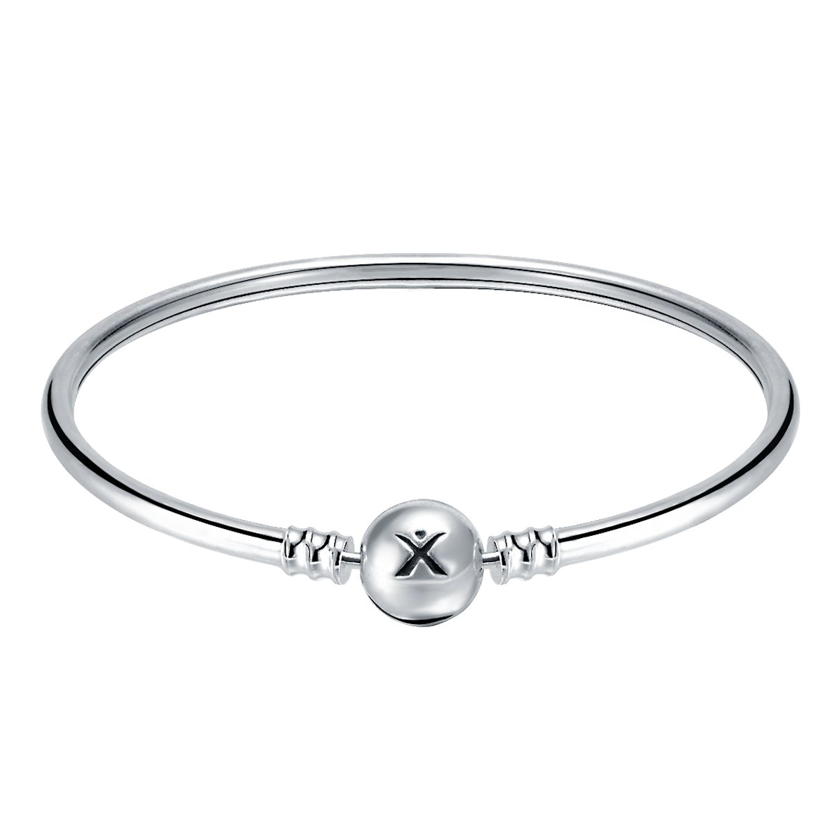 Changeable 925 Sterling Silver Women Charms Bracelet (Smooth Bangle) 21CM