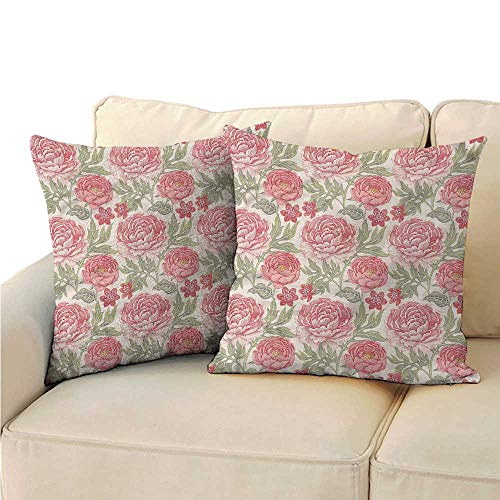 RuppertTextile Victorian Personalized Pillowcase Romantic Peonies Botany Soft and Durable W14 x L14