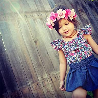 Listogether Toddler Kids Girls Cute Floral Vest Tank Tops Denim Party Tutu Skirts 2PCS Outfits Clothes