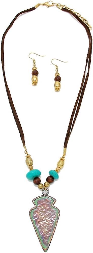 Boho Pendant Necklace. Brown Arrowhead and Grey Beaded Chain Long Gold Circle Arrowhead Necklace Brown Arrowhead Pendant Necklace