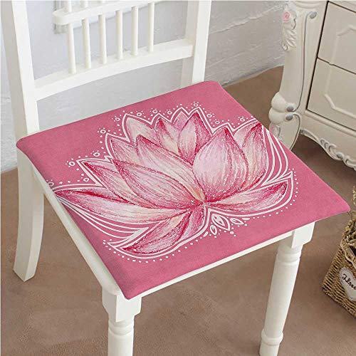 Mikihome Dining Chair Pad Cushion Lotus Flower Meditation Yoga Plant Asian Fashions Indoor/Outdoor Bistro Chair Cushion 24''x24''x2pcs by Mikihome