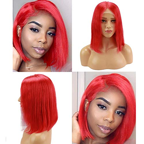 Loviness Short Bob Wig Red Human Hair Wigs 8'' 10'' 12'' 14'' Middle Part Lace Front Silky Straight Hair Wigs 180% Density 13X4 Frontal Pre Plucked(10 inches)]()
