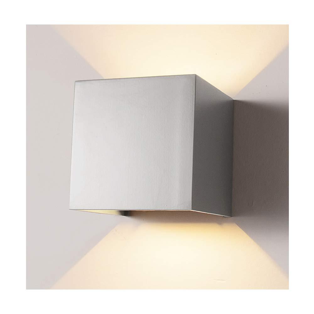 LED Aluminum Waterproof Wall Lamp,12W 85-225V 3200K Adjustable Outdoor Wall Light Warm Light 2 LEDS (Gray)