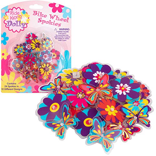 Bike Wheel Spokes - Ride Along Dolly Colorful Flower and Butterfly Bicycle Spokes Attachments- Cute Bike Accessories for Kids (24 Pcs, 12 Different Designs) (Flower Bicycle)
