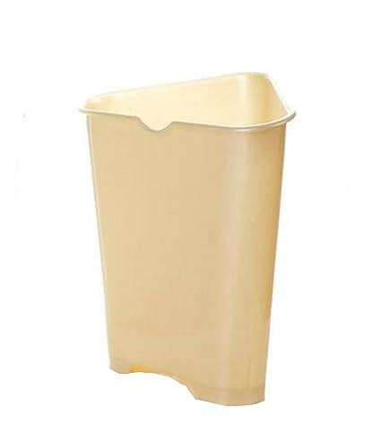 Gentil Hflove Triangle Kitchen Trash Can Plastic Corner Kitchen Trash Bin (Beige)