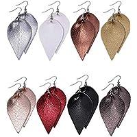 Jetec 8 Pairs Faux Leather Earrings Set Leather Leaf Earrings Petal Dangle Drop Earrings for Women Girls