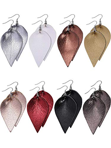 Jetec 8 Pairs Faux Leather Earrings Set Leather Leaf Earrings Petal Dangle Drop Earrings for Women Girls (Solid Color Set A)