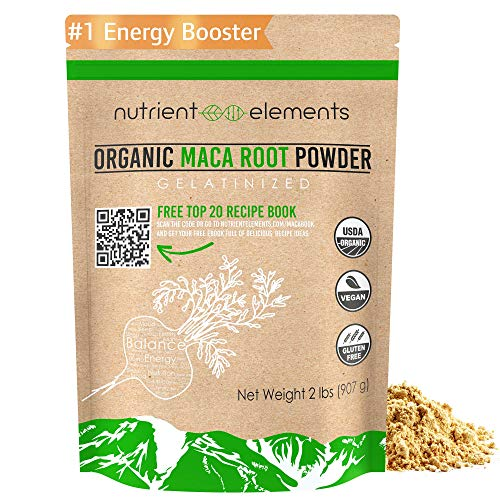 Premium Organic and Raw Maca Root Powder - 2 lbs - USDA Certified and Gelatinized in 32oz Resealable Pack by Nutrient Elements ()
